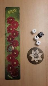 Rundenanzeiger, Anführer-Button und Kampfwürfel