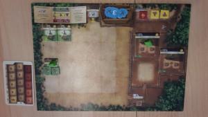 Ich habe zwei Lagerstätten, eine Försterei und einen weiteren Hof gebaut.
