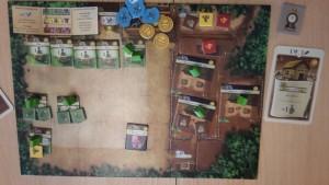 Andreas hat eine weitere Försterei, eine Jagdhütte und ein drittes Lager bauen können. Außerdem hat er eine Karte ausgespielt.